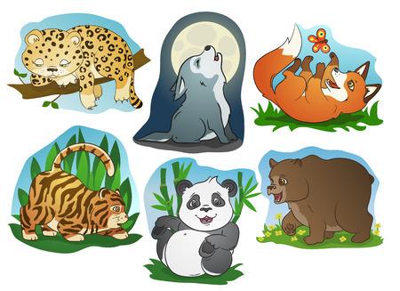 Cute cartoon animals illustration, vector set Illustration