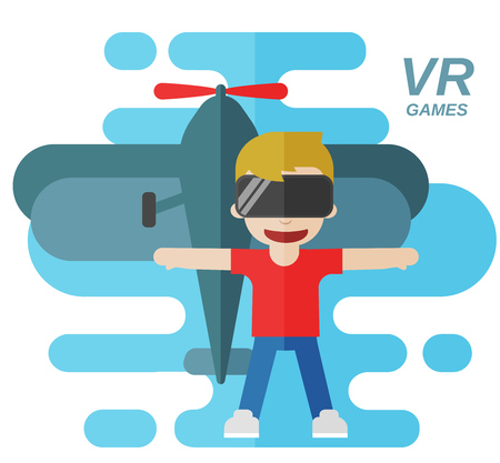 Virtual Reality Games Flat Vector Illustration, Boy wearing goggles and airplain on the background