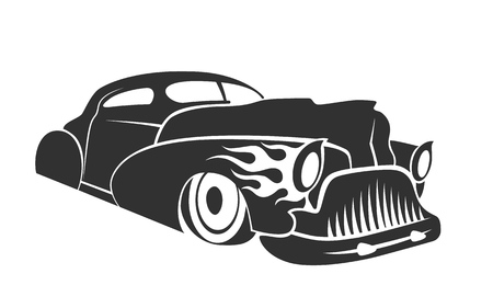 Old custom car silhouette, hot rod low rider coupe isolated vector illustration Vettoriali