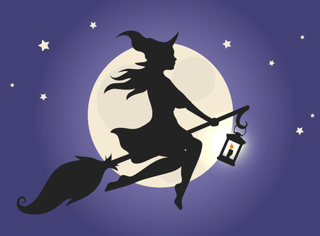 Black silhouette of a beautiful glamour witch flying on a broomstick