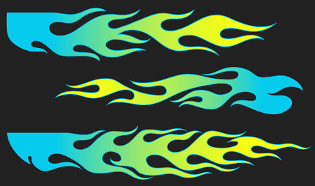 Fire flames, blue and yellow gradient colored, isolated vector elements