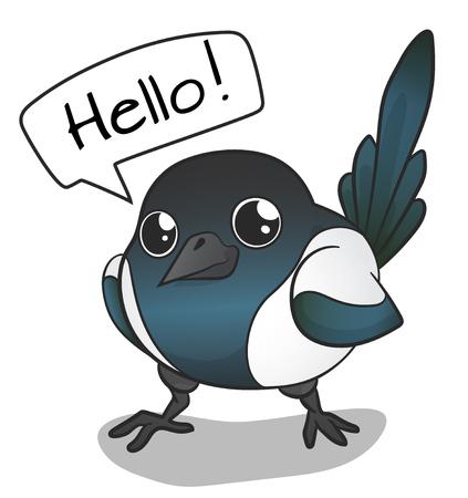 Cartoon Tiny Magpie, hand getekende kleur vector illustratie, geïsoleerd op een witte achtergrond Vector Illustratie