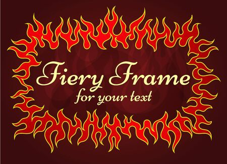 fiery: Red fiery frame, vector background illustration