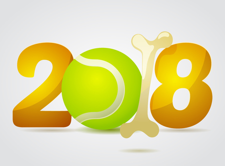next year: Vector numbers 2018 with zero as tennis ball toy and one in bone shape next new year template illustration Illustration