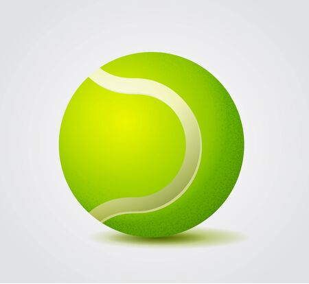 Vivid Green Tennis Ball, Color Vector Illustration
