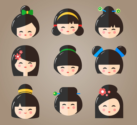 Japanese Kokeshi Dolls Heads Icons. Kawaii asian girls with different haircuts isolated on the white background. Flat vector illustration Illustration