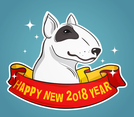 Portrait of Bull Terrier with Red Ribbon around his Neck with Happy New 2018 Year text, OldSchool Style Vector Illustration