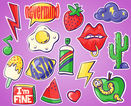 drawing pin: Set of different badges. Fashion patches, stickers, pins and signs with lemon, cactus, lips, spray paint etc. in 80s 90s style, vector isolated icons