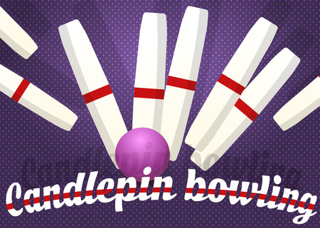 Candlepin bowling, color vector illustration