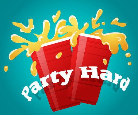 Two red party cups with a splashing beer, cheers vector illustration Illustration