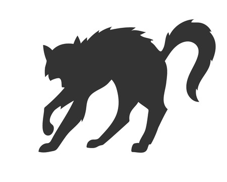 simple black silhouette of the arched disheveled cat on the white background