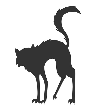 simple black cartoon vector silhouette of the arched disheveled cat on the white background Illustration