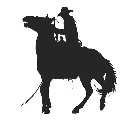 cowboy riding a horseback, isolated vector silhouette
