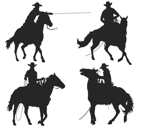 cowboy with lasso riding a horse, isolated vector silhouettes set