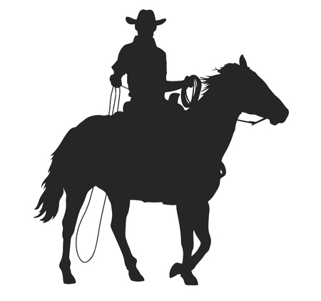 cowboy with lasso riding a horse, isolated vector silhouette