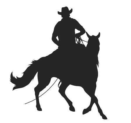 cowboy con lasso in sella a un cavallo, silhouette vettoriale isolato
