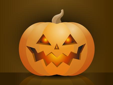 Halloween pumpkin with scary face. Vector cartoon Illustration Illustration