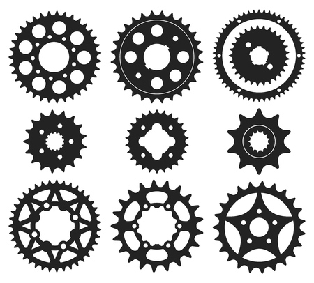 Vector set of bike chainrings and rear sprocket silhouettes Banco de Imagens - 86381942