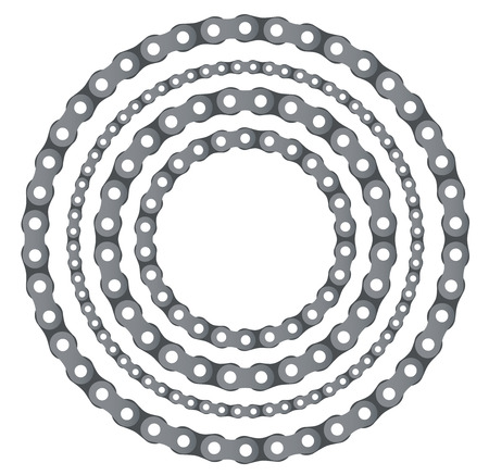 Motorcycle chain round frames vector set