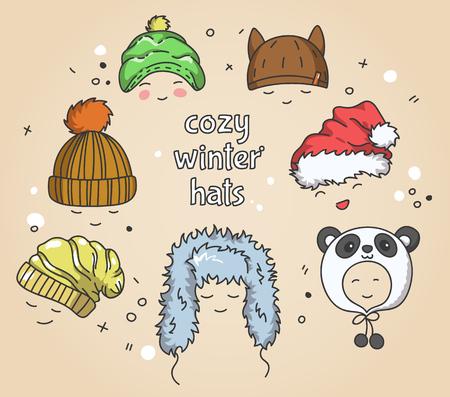 textile image: Cozy winter hats set, hand drawn vector illustration