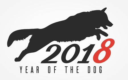 Silhouette of the dog jumping over the digits 2018, vector illustration