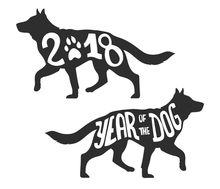 hounds: Silhouette of the dog walking, isolated vector illustration for the Chinese Year of the Dog 2018