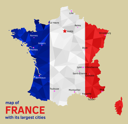 Vector geometric polygonal map of France, painted in the colors of the national flag, with Marked its Capital and Largest Cities Illustration