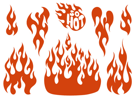 fuel rod: Red fire, old school flame elements set, isolated vector illustration Illustration