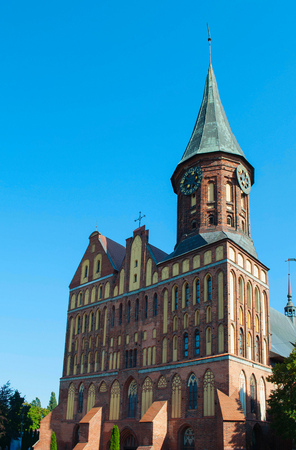 Brick Gothic style Cathedral in Kaliningrad, Russia. It was formerly old German Konigsberg Cathedral. Color vertical photo