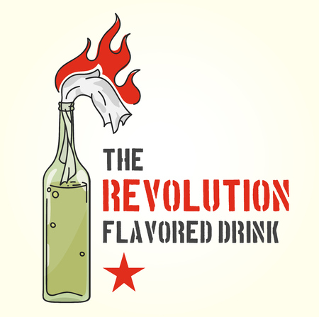 The revolution flavored drink - molotov cocktail, color vector illustration