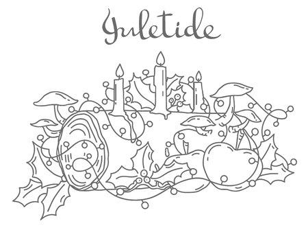 Yule log, outline vector illustration Çizim