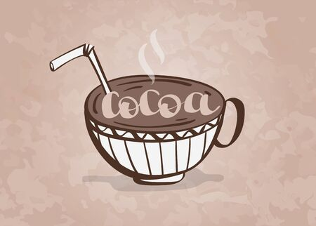 Mug of hot cocoa with a tube cocktail, hand drawn vector illustration