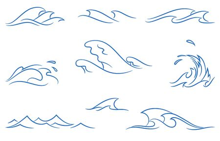 vector set of a different simple stylized pinstripe ocean waves