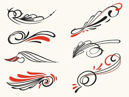 Pinstriping ornament elements, vector set