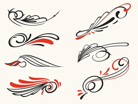 Pinstriping ornament elements, vector set