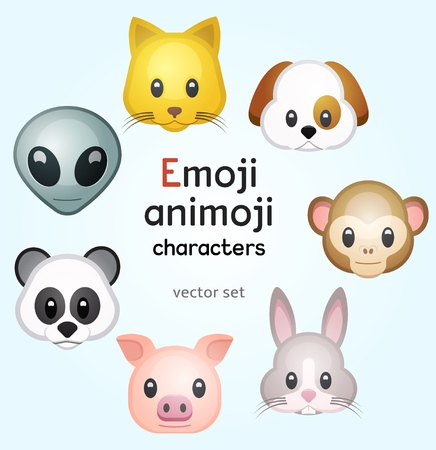 Emoji or animoji animal characters 向量圖像