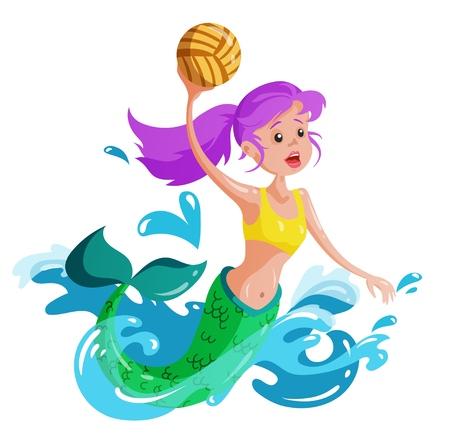 Mermaid plays water polo