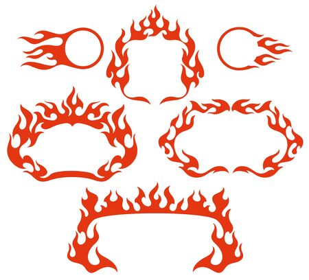 Stylized fire flame frames, isolated vector illustration Illustration