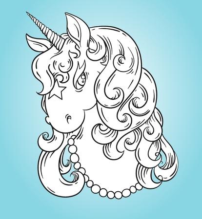 Unicorn Head Portrait Coloring Page, Poster. Cute Magic Cartoon ...