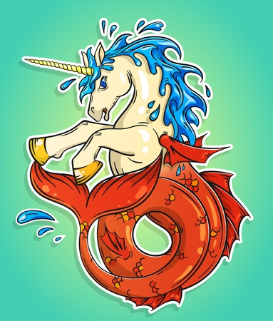 Ocean unicorn with a fishtail vector illustration