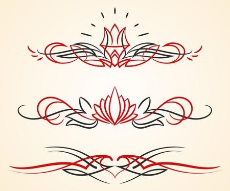 pinstriping floreren vector ornamenten set Vector Illustratie