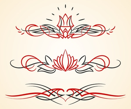 pinstriping flourish vector ornaments set  イラスト・ベクター素材