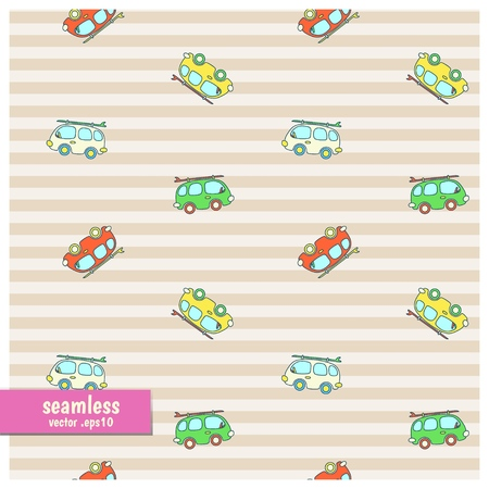 Seamless colorful pattern of cartoon van with surfboard.