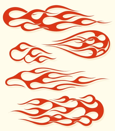 Insieme di elementi di fiamma rossa