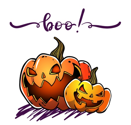 Vector hand drawn scary pumpkins, vector illustration for halloween with a lettering inscription Boo