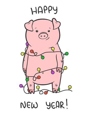 Happy New Year cute vector illustration with funny piglet Illustration