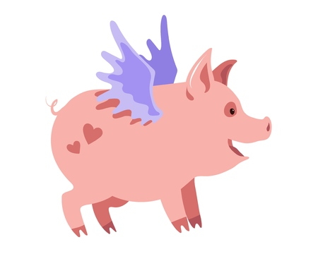 Cute winged piglet with hearts on his back Illustration