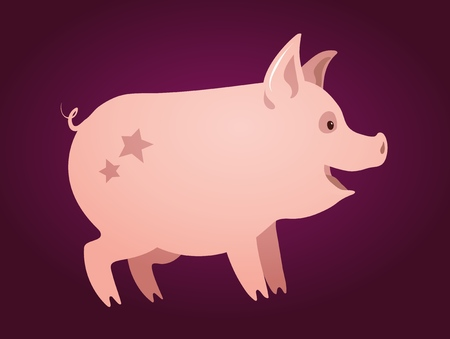 Cute pink piglet with stars on his back