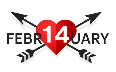 February 14th simple vector emblem Illustration