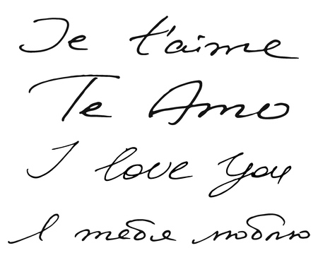 I Love You handwritten cursive phrase in 4 variants on a few languages, vector lettering in french, spanish, english and russian